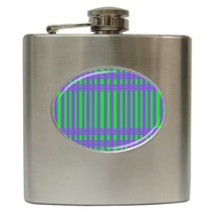 Bright Green Purple Stripes Pattern Hip Flask (6 Oz) by BrightVibesDesign