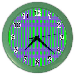 Bright Green Purple Stripes Pattern Color Wall Clocks by BrightVibesDesign