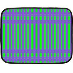 Bright Green Purple Stripes Pattern Fleece Blanket (mini) by BrightVibesDesign