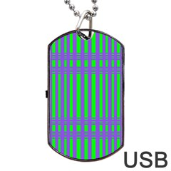 Bright Green Purple Stripes Pattern Dog Tag Usb Flash (one Side) by BrightVibesDesign