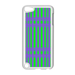 Bright Green Purple Stripes Pattern Apple Ipod Touch 5 Case (white) by BrightVibesDesign