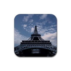 Eiffel Tower France Landmark Rubber Square Coaster (4 Pack)  by Celenk