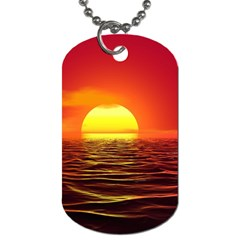 Sunset Ocean Nature Sea Landscape Dog Tag (two Sides) by Celenk