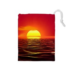 Sunset Ocean Nature Sea Landscape Drawstring Pouches (medium)  by Celenk