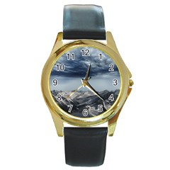 Mountain Landscape Sky Snow Round Gold Metal Watch by Celenk