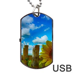 Sunflower Summer Sunny Nature Dog Tag Usb Flash (two Sides) by Celenk