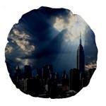 New York America New York Skyline Large 18  Premium Round Cushions Back