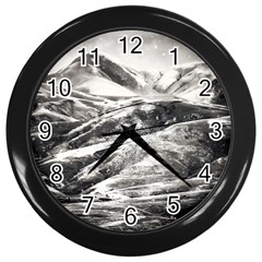 Mountains Winter Landscape Nature Wall Clocks (black) by Celenk