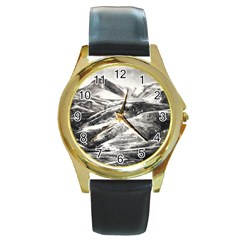 Mountains Winter Landscape Nature Round Gold Metal Watch