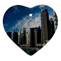 Skyscraper City Architecture Urban Heart Ornament (two Sides) by Celenk