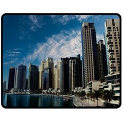 Skyscraper City Architecture Urban Fleece Blanket (medium)  by Celenk