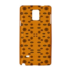 Brown Circle Pattern On Yellow Samsung Galaxy Note 4 Hardshell Case by BrightVibesDesign