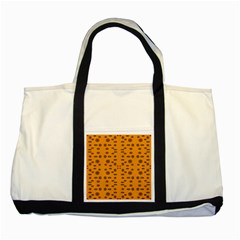 Brown Circle Pattern On Yellow Two Tone Tote Bag by BrightVibesDesign