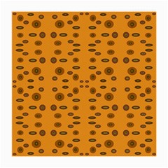 Brown Circle Pattern On Yellow Medium Glasses Cloth by BrightVibesDesign