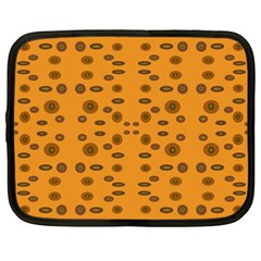 Brown Circle Pattern On Yellow Netbook Case (xxl)  by BrightVibesDesign