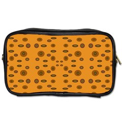 Brown Circle Pattern On Yellow Toiletries Bags by BrightVibesDesign