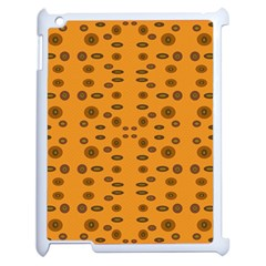 Brown Circle Pattern On Yellow Apple Ipad 2 Case (white) by BrightVibesDesign