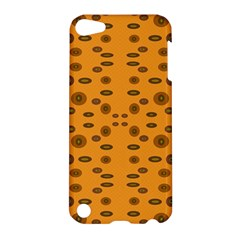 Brown Circle Pattern On Yellow Apple Ipod Touch 5 Hardshell Case by BrightVibesDesign