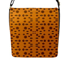 Brown Circle Pattern On Yellow Flap Messenger Bag (l)  by BrightVibesDesign