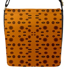 Brown Circle Pattern On Yellow Flap Messenger Bag (s) by BrightVibesDesign