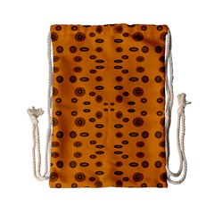 Brown Circle Pattern On Yellow Drawstring Bag (small) by BrightVibesDesign