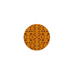 Brown Circle Pattern On Yellow 1  Mini Magnets by BrightVibesDesign