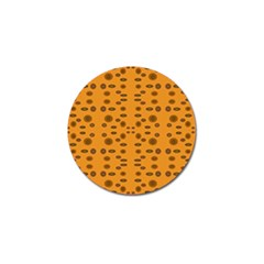 Brown Circle Pattern On Yellow Golf Ball Marker by BrightVibesDesign