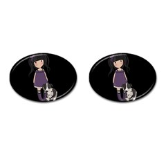 Dolly Girl And Dog Cufflinks (oval) by Valentinaart