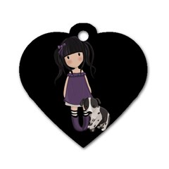 Dolly Girl And Dog Dog Tag Heart (one Side) by Valentinaart