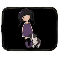 Dolly Girl And Dog Netbook Case (xl)  by Valentinaart