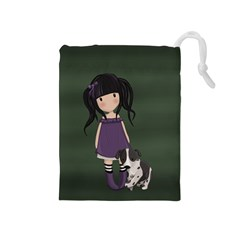 Dolly Girl And Dog Drawstring Pouches (medium)  by Valentinaart