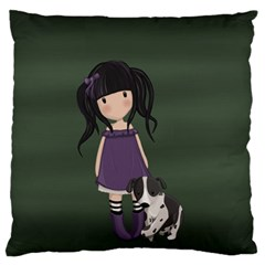 Dolly Girl And Dog Standard Flano Cushion Case (one Side) by Valentinaart
