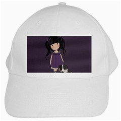 Dolly Girl And Dog White Cap by Valentinaart