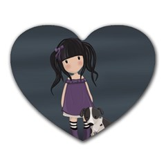 Dolly Girl And Dog Heart Mousepads by Valentinaart
