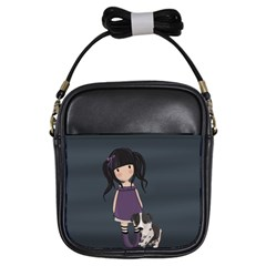 Dolly Girl And Dog Girls Sling Bags by Valentinaart