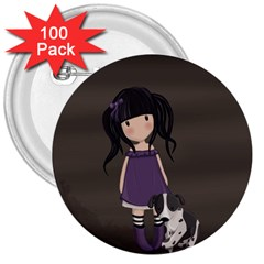 Dolly Girl And Dog 3  Buttons (100 Pack)  by Valentinaart