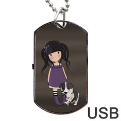 Dolly Girl And Dog Dog Tag Usb Flash (two Sides) by Valentinaart