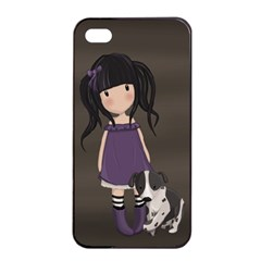 Dolly Girl And Dog Apple Iphone 4/4s Seamless Case (black) by Valentinaart