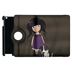 Dolly Girl And Dog Apple Ipad 3/4 Flip 360 Case by Valentinaart