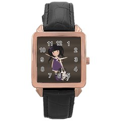 Dolly Girl And Dog Rose Gold Leather Watch  by Valentinaart