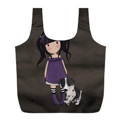Dolly Girl And Dog Full Print Recycle Bags (l)  by Valentinaart