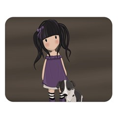 Dolly Girl And Dog Double Sided Flano Blanket (large)  by Valentinaart