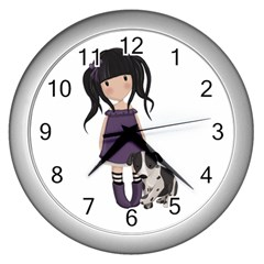 Dolly Girl And Dog Wall Clocks (silver)  by Valentinaart