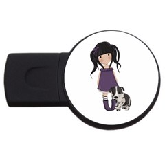 Dolly Girl And Dog Usb Flash Drive Round (2 Gb) by Valentinaart