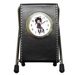 Dolly Girl And Dog Pen Holder Desk Clocks by Valentinaart