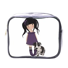 Dolly Girl And Dog Mini Toiletries Bags by Valentinaart