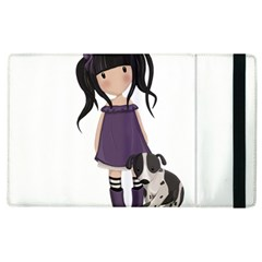 Dolly Girl And Dog Apple Ipad 3/4 Flip Case by Valentinaart