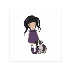 Dolly Girl And Dog Small Satin Scarf (square) by Valentinaart