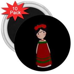 Frida Kahlo Doll 3  Magnets (10 Pack)  by Valentinaart