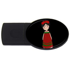 Frida Kahlo Doll Usb Flash Drive Oval (2 Gb) by Valentinaart